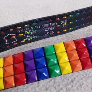 Rainbow/Multicolored Spiked Italian Leather Belt